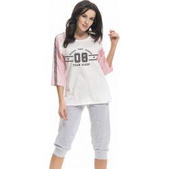 Piżamy damskie: Piżama w kolorze biało-jasnoróżowo-szarym