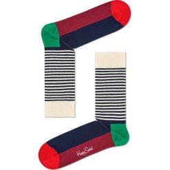 Happy Socks - Skarpetki Half Stripe. Czarne skarpetki damskie marki Happy Socks, z bawełny. W wyprzedaży za 29,90 zł.