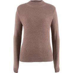 Swetry damskie: Sweter ze stójką i strukturalnym wzorem bonprix matowy brązowy