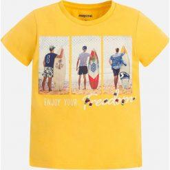 Mayoral - T-shirt dziecięcy 92-134 cm. Żółte t-shirty męskie z nadrukiem Mayoral, z bawełny. Za 59,90 zł.