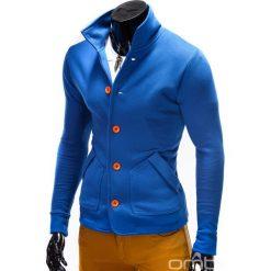 BLUZA MĘSKA ROZPINANA BEZ KAPTURA CARMELO - NIEBIESKA. Niebieskie bluzy męskie rozpinane marki Ombre Clothing, m, z bawełny, bez kaptura. Za 69,00 zł.