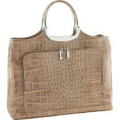 Torebki klasyczne damskie: Skórzana torebka w kolorze szarobrązowym – 37 x 37 x 10 cm