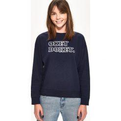 Bluzy damskie: Bluza z napisem – Granatowy
