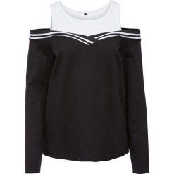 Bluzy damskie: Bluza 2 w 1 bonprix czarno-biel wełny