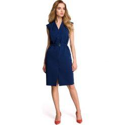 LINDI Sukienka szmizjerka bez rękawów - granatowa. Niebieskie sukienki koktajlowe marki Stylove, do pracy, na lato, s, ze stójką, bez rękawów, dopasowane. Za 169,90 zł.