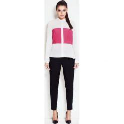 Bielizna damska: Ecru-różowa Koszula z Kontrastowymi Wstawkami z Długim Podpinanym Rękawem