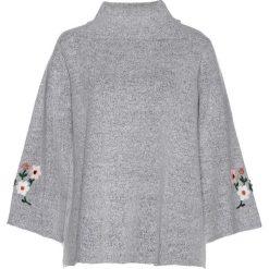 Swetry klasyczne damskie: Sweter z haftem bonprix szary melanż