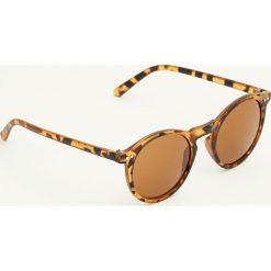 Okulary przeciwsłoneczne damskie aviatory: Okulary przeciwsłoneczne z okrągłymi rogowymi oprawkami