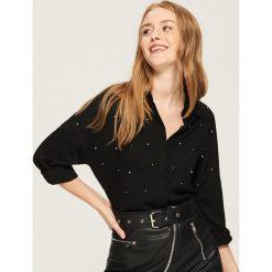 Koszula z aplikacją - Czarny. Czarne koszule damskie Sinsay, l, z aplikacjami. Za 59,99 zł.