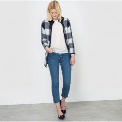 Rozpinany sweter w kratę. Szare kardigany damskie marki La Redoute Collections, m, z bawełny, z kapturem. Za 126,00 zł.
