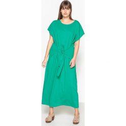 Długie sukienki: Sukienka prosta długa i gładka z krótkim rękawem
