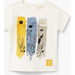 Mango Kids - T-shirt dziecięcy Tunez 80-104 cm. Szare t-shirty męskie z nadrukiem marki Mango Kids, z bawełny, z klasycznym kołnierzykiem. Za 35,90 zł.