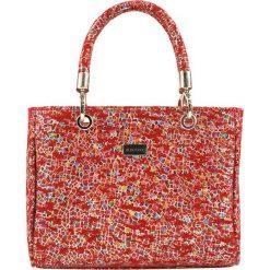 Torebki klasyczne damskie: Skórzana torebka w kolorze czerwonym ze wzorem – (S)28 x (W)21 x (G)12 cm