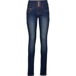 Dżinsy z wysoką talią bonprix ciemny denim. Czerwone jeansy damskie marki OLAIAN, z materiału, sportowe. Za 109,99 zł.