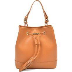 Torebki klasyczne damskie: Skórzana torebka w kolorze jasnobrązowym – (S)27 x (W)29 x (G)17,5 cm