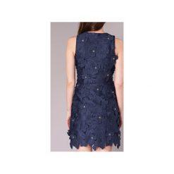 Sukienki krótkie MICHAEL Michael Kors  FLORAL LACE DRS. Niebieskie sukienki mini marki MICHAEL Michael Kors, z krótkim rękawem. Za 1039,20 zł.