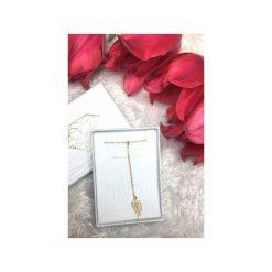 Naszyjniki damskie: Srebrny pozłacany naszyjnik krawatka skrzydło