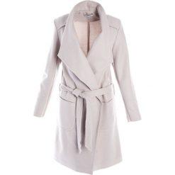 Płaszcz materiałowy - 65-6285-1 BEI. Brązowe płaszcze damskie pastelowe Unisono, na jesień, l, w paski, z dzianiny, eleganckie. Za 119,00 zł.