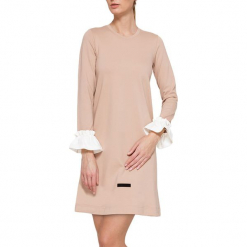 Sukienka w kolorze jasnoróżowym. Czerwone sukienki mini marki YULIYA BABICH, xs, z falbankami. W wyprzedaży za 164,95 zł.