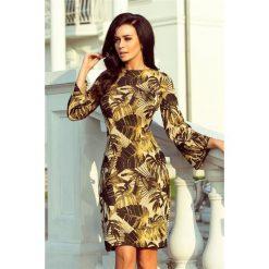 CAPRISE Sukienka swetrowa z rozkloszowanym rękawkiem - MUSZTARDOWE LIŚCIE. Żółte sukienki na komunię marki numoco, s, rozkloszowane. Za 166,98 zł.