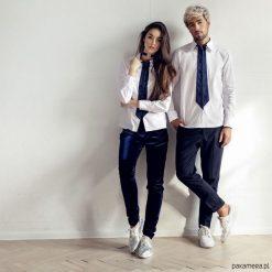 Koszula damska z krawatem. Niebieskie koszule damskie marki Pakamera, z bawełny. Za 199,00 zł.