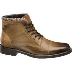 Kozaki męskie AM SHOE brązowe. Brązowe buty zimowe męskie AM SHOE, z materiału, na sznurówki. Za 259,90 zł.