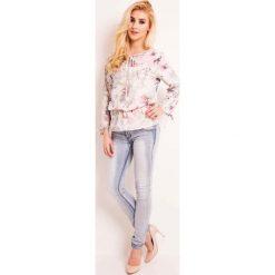 Bluzka w Jasne Kwiaty z Wiązaniem przy Dekolcie. Białe bluzki longsleeves Molly.pl, l, w kwiaty, biznesowe. Za 99,90 zł.