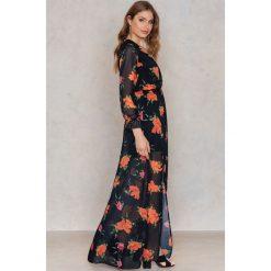 Długie sukienki: Trendyol Długa sukienka z rozcięciem - Black,Multicolor