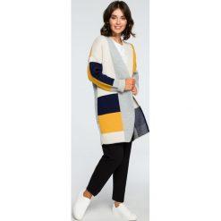Geometryczny sweter kardigan bk011. Niebieskie swetry oversize damskie BEE. Za 129,00 zł.