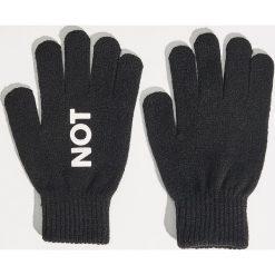Rękawiczki damskie: Rękawiczki z napisem - Czarny