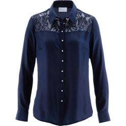 Bluzki damskie: Bluzka z koronkową wstawką bonprix ciemnoniebieski