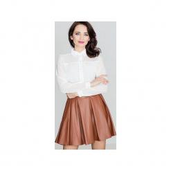Spódnica K069 Brąz. Brązowe spódniczki rozkloszowane marki Lenitif, xl, ze skóry, z podwyższonym stanem. Za 89,00 zł.