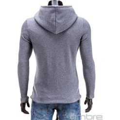 BLUZA MĘSKA ROZPINANA Z KAPTUREM B326 - SZARA. Szare bluzy męskie rozpinane marki Ombre Clothing, m, z bawełny, z kapturem. Za 75,00 zł.