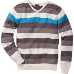 """Swetry męskie: Sweter """"Slim fit"""" bonprix biało-szaro-turkusowy w paski"""