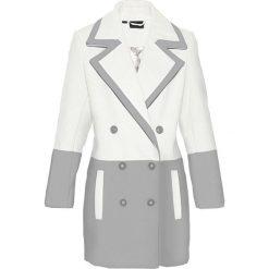 Płaszcze damskie: Krótki płaszcz z materiału w optyce wełny bonprix szary melanż – biel wełny