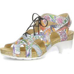 """Sandały damskie: Skórzane sandały """"Traudi"""" z kolorowym wzorem"""