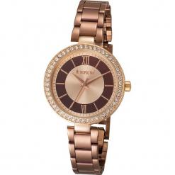 """Zegarek kwarcowy """"Elite"""" w kolorze czarno-miedzianym. Żółte, analogowe zegarki damskie METROPOLITAN, metalowe. W wyprzedaży za 173,95 zł."""
