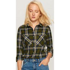 Koszula w kratę - Khaki. Brązowe koszule damskie marki Reserved. W wyprzedaży za 39,99 zł.