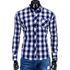 KOSZULA MĘSKA W KRATĘ Z DŁUGIM RĘKAWEM K282 - GRANATOWA. Białe koszule męskie na spinki Ombre Clothing, m, z bawełny, z długim rękawem. Za 59,00 zł.