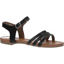Czarne sandały płaskie zdobione kryształkami Casu K18X5/B. Czerwone sandały damskie marki Melissa, z kauczuku. Za 29,99 zł.