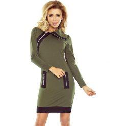 NIKI sukienka z trzema zamkami - KHAKI + czarne zamki. Zielone sukienki na komunię marki numoco, s, moro, z materiału, militarne, z golfem. Za 159,99 zł.