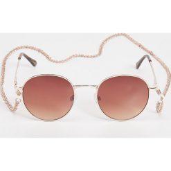 Okulary przeciwsłoneczne damskie aviatory: Okulary przeciwsłoneczne na łańcuszku – Brązowy