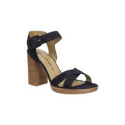 Sandały Nessi  Sandały skórzane  17151. Czarne sandały damskie marki Nessi, z materiału, na obcasie. Za 169,99 zł.
