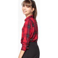 Koszula w kratę, 10-16 lat. Brązowe bluzki dziewczęce bawełniane La Redoute Collections, z klasycznym kołnierzykiem, z długim rękawem. Za 62,96 zł.