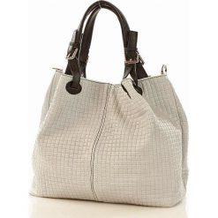 Skórzana torebka shopper MAZZINI - LINDA biała. Czarne kuferki damskie marki Parfois, w paski, z materiału, do ręki, średnie. Za 269,00 zł.