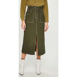 Answear - Spódnica. Szare spódniczki ANSWEAR, l, z bawełny, z podwyższonym stanem, midi, proste. Za 149,90 zł.