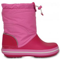 Crocs Śniegowce Crocband Lodge Point Boot Kids Candy Pink/Party Pink 24-25 (c8). Różowe kozaki dziewczęce Crocs, z nylonu, na wysokim obcasie. W wyprzedaży za 169,00 zł.