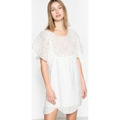 Sukienki hiszpanki: Krótka sukienka z angielskim haftem i krótkimi rękawami