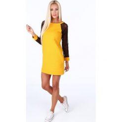 Sukienka sportowa z siatkowymi rękawami miodowa 0201. Pomarańczowe sukienki Fasardi, l, sportowe, sportowe. Za 99,00 zł.