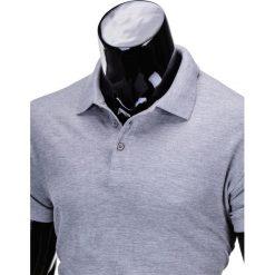 KOSZULKA MĘSKA POLO BEZ NADRUKU S715 - SZARA. Szare koszulki polo marki Ombre Clothing, m, z nadrukiem, z materiału. Za 39,00 zł.